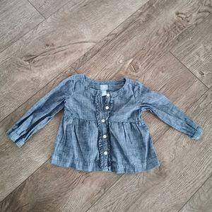3/$15 Gap baby girl chambray shirt 18-24M